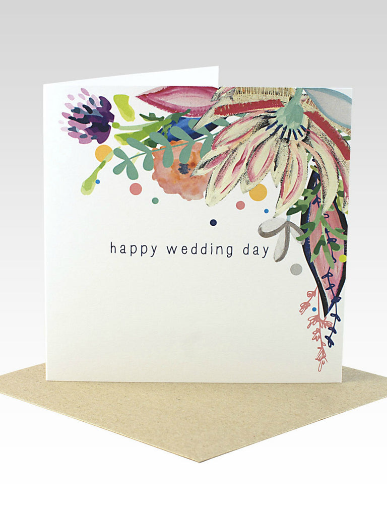 Floral Happy Wedding Day Card