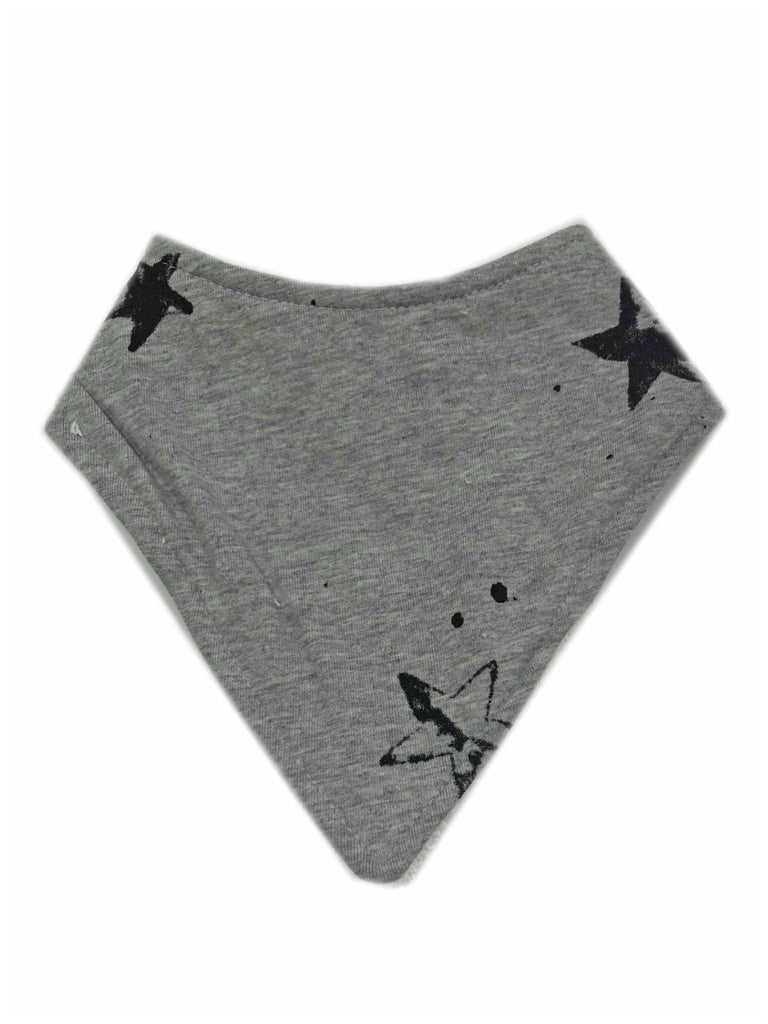 Bandana Bib | Grey with Black Stars