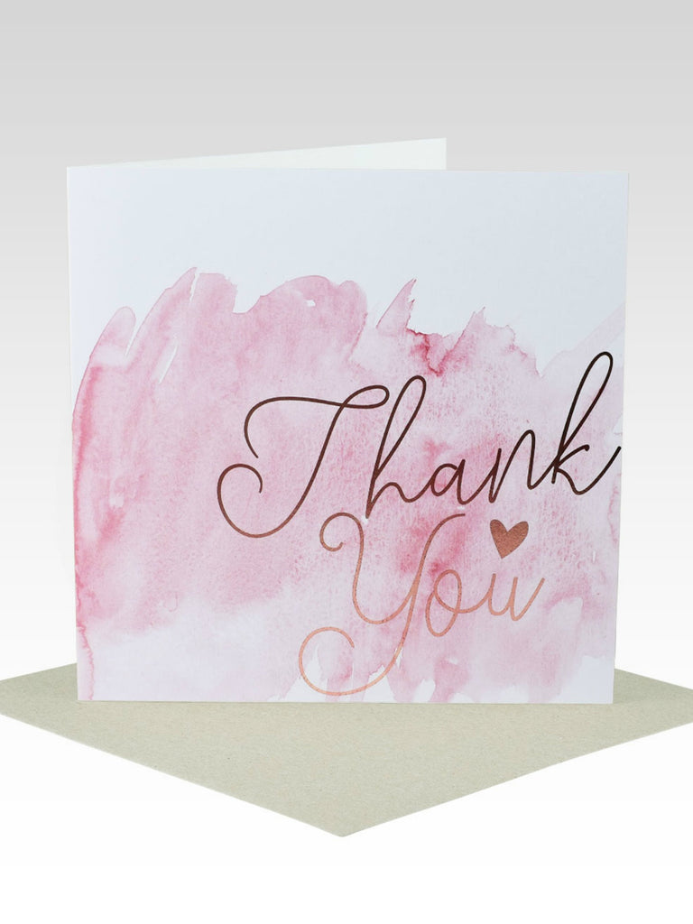 Watercolour & Rose Gold Thank You Card