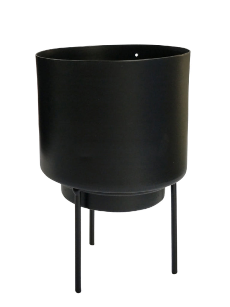 Standing Black Metal Planter | 17cm