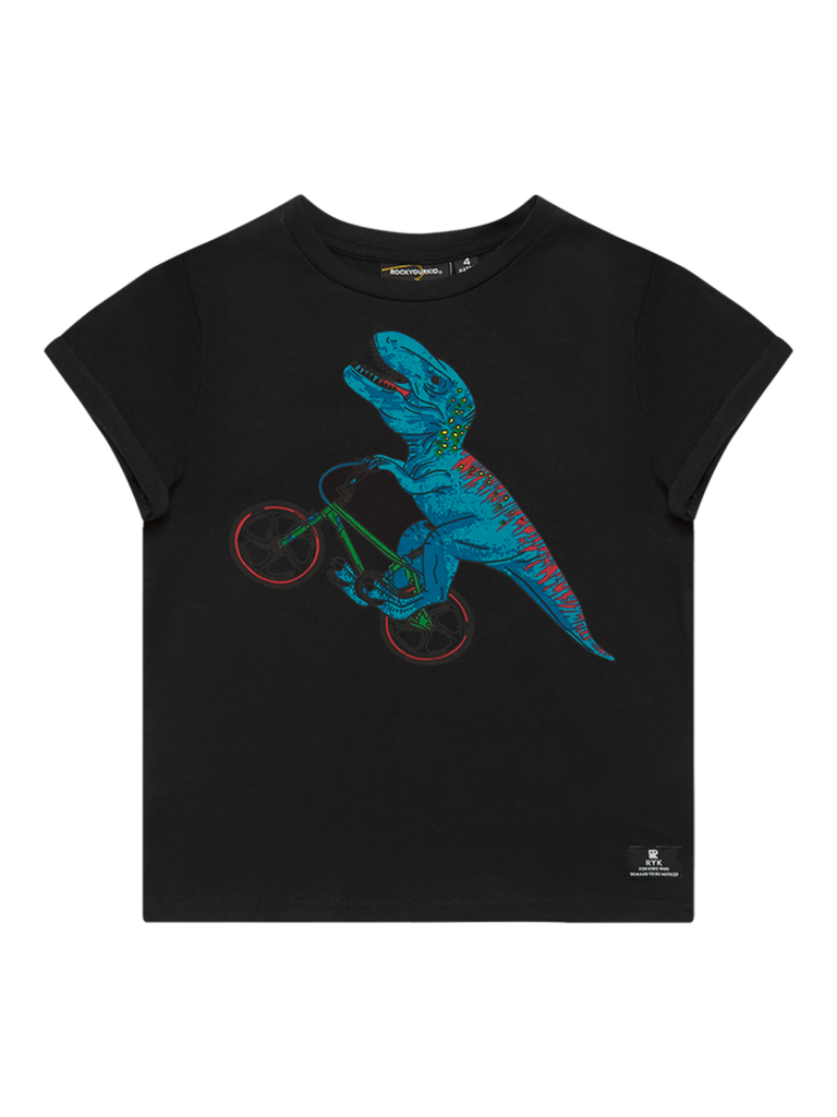 Rock Your Baby Dino Bike SS T-Shirt |Black