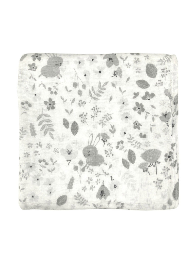 White Bunny Floral Muslin Wrap