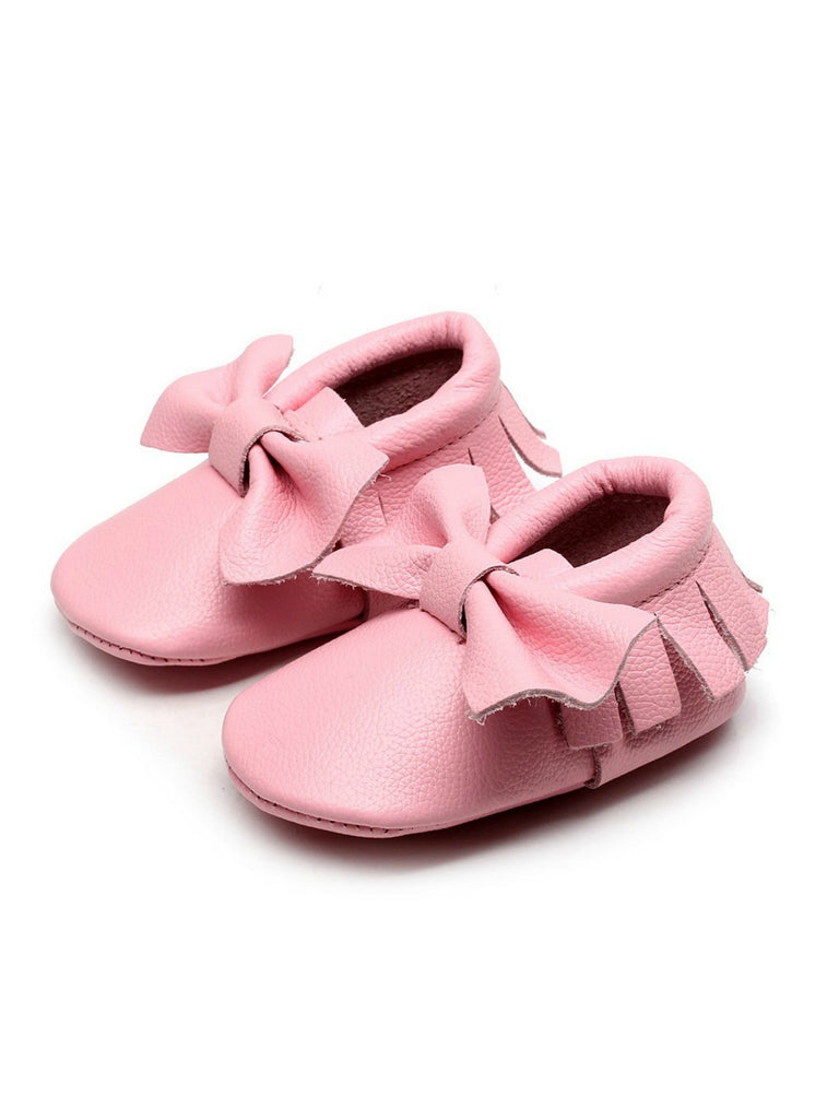 Bow Moccasins | Baby Pink