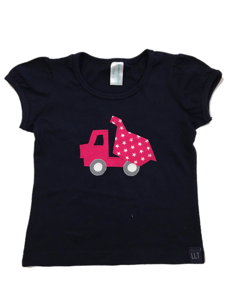 LLT Girls Tee | Navy Puff Dumptruck