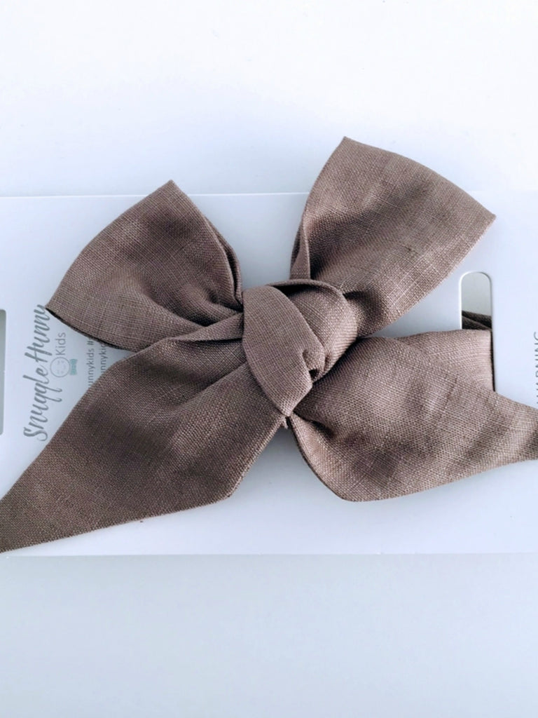 Linen Bow Headband Wrap | Chocolate