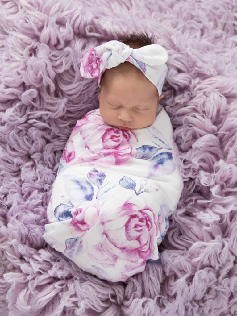 Baby Jersey Wrap & Topknot Set | Lilac Skies