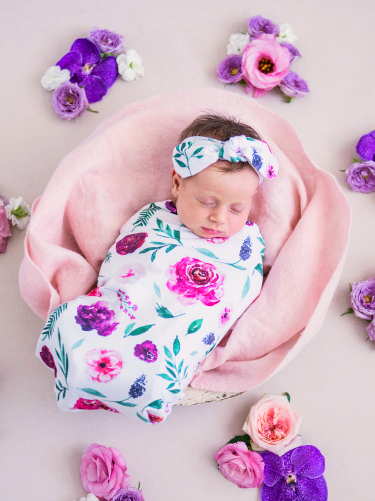 Snuggle Swaddle & Top Knot Set Peony Bloom