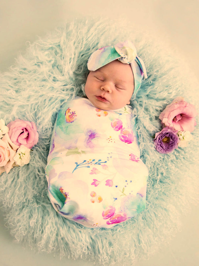 Snuggle Swaddle & Topknot Set | Sweet Petal