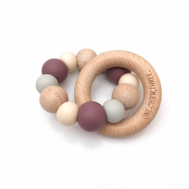 One.Chew.Three Naturals Silicone & Beech Wood Teether