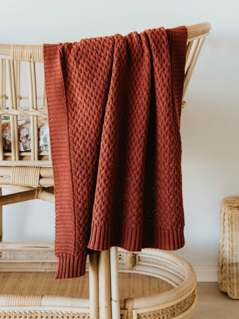 Diamond Knit Baby Blanket | Umber