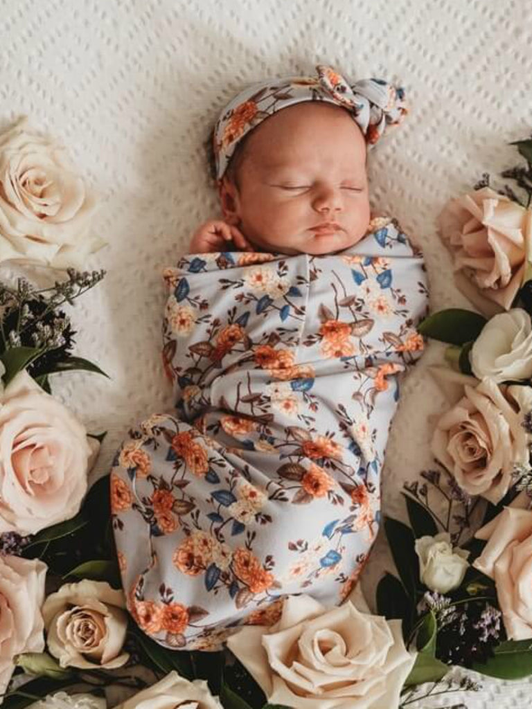 Snuggle Swaddle and Top Knot Vintage Blossom