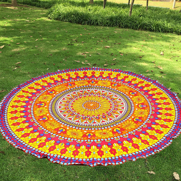 Floral Round Mandala Tapestry