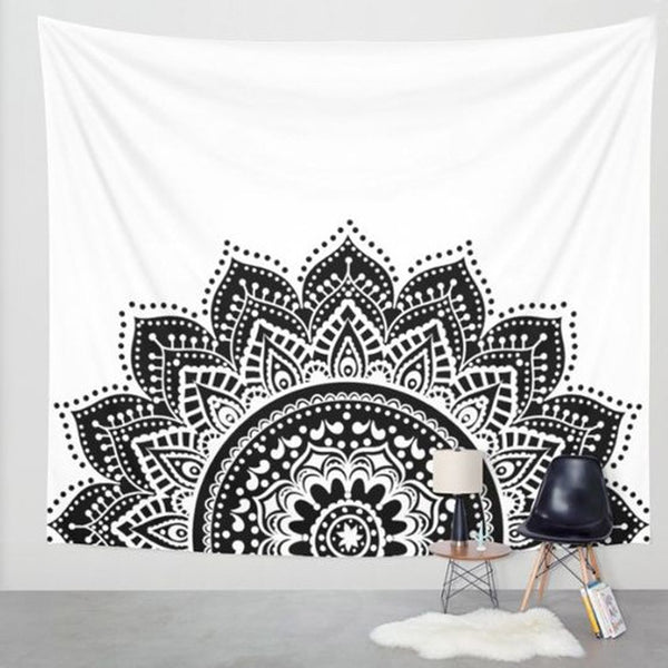 Flower Black and White Pattern Tapestry