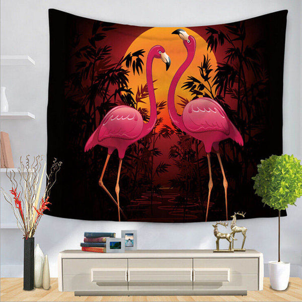 Flamingo Mandala Tapestry (Black)