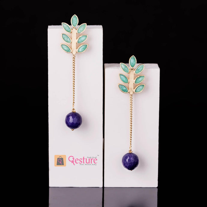 Leaf Enamel Drop Earring (Available in 4 Variants)- Gesture Jewelery