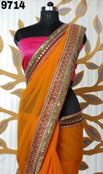 MONRSH WOMEN'S GORGETTE SAREE WITH HEAVY EMBROIDERY  AND MIRROR WORK