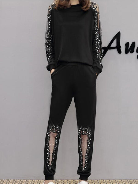 Plus Size Studded Loose Tracksuit CODE: mon190