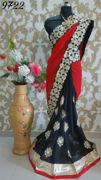 Monrsh Women's  HALF AND HALF SAREE WITH HEAVY EMBROIDERY
