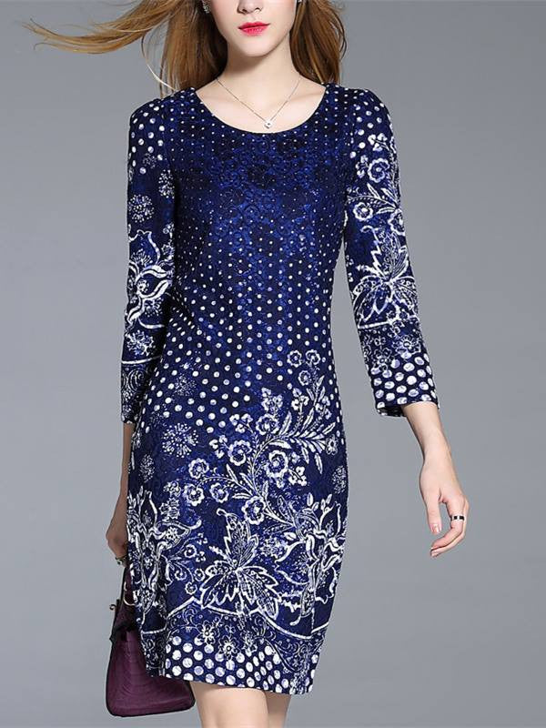 Monrsh Women's Blue Floral Dress