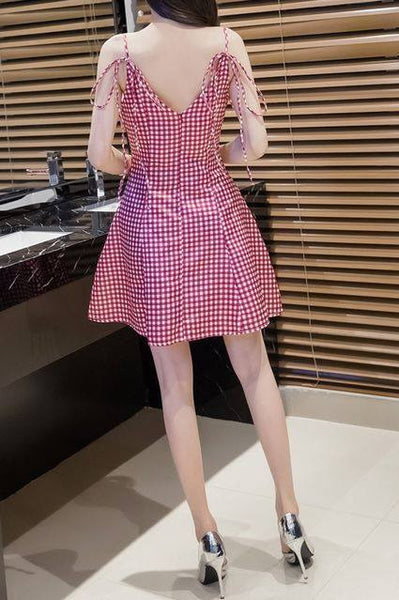 Monrsh Women's Checked Short Dress CODE:MON843