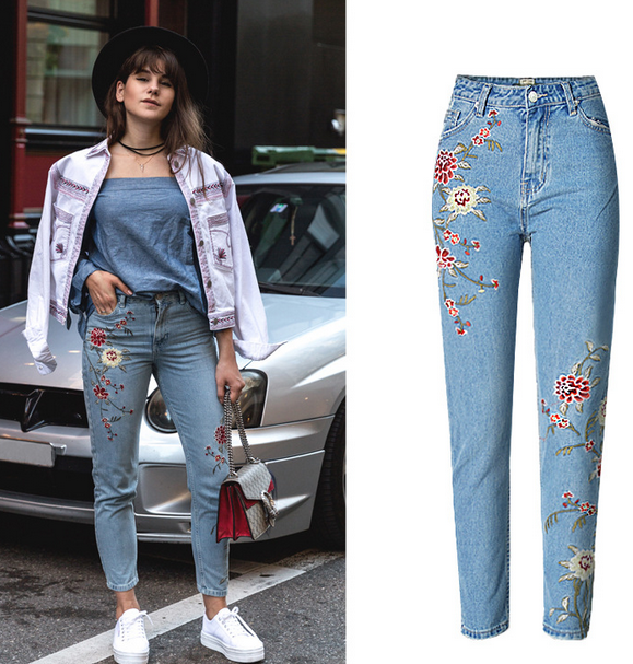 Monrsh Women's Floral Embroided Pants