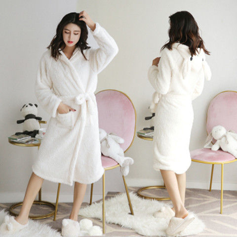 Hooded pajamas mid-length flannel  Bathrobe CODE: KAR912