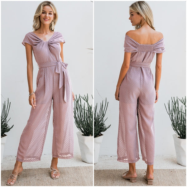 Solid sashes female jumpsuit romper Twist neck CODE: KAR126