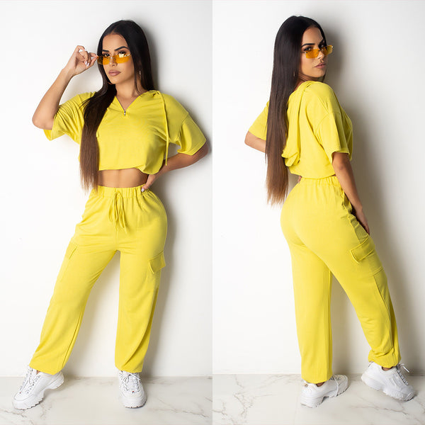 T Shirt+pants Two Piece Outfits Women Solid Regular CODE: KAR135