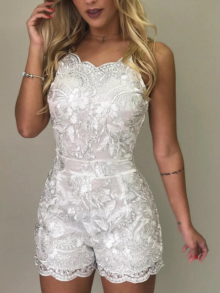 Sweet Girl Spaghetti Strap Lace Embroidery Rompers CODE: KAR177