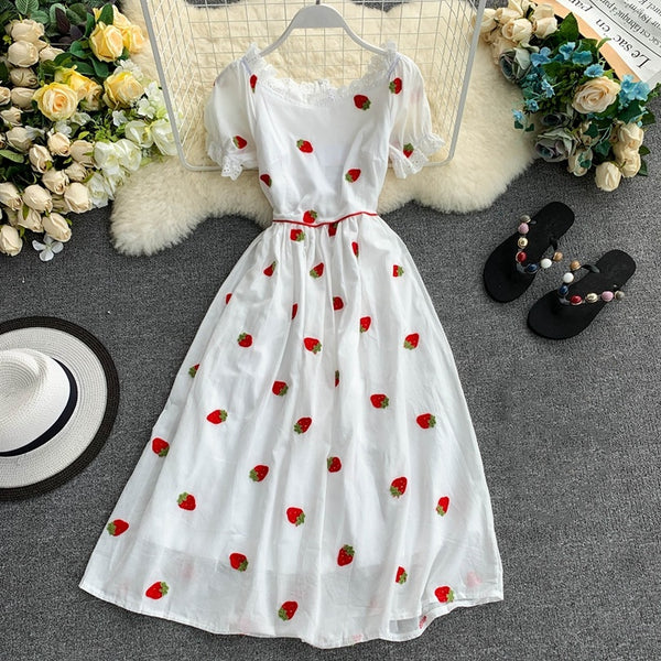 Sweet Strawberry Print White Embroidered HollowOut Petal Sleeve CODE: KAR185