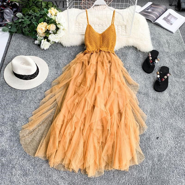 Party Dress Solid Cascading Ruffles Knitting Patchwork Women Dress CODE: KAR225