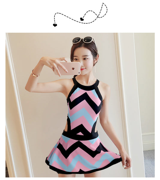 Girl striped Skirt style one Piece swimsuit Sexy Halter Wave edge  CODE: KAR254