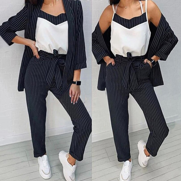 Suit 3 piece set fashion casual striped suit + sling + pants three-piece CODE: KAR255