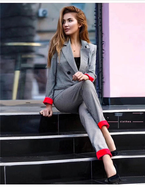 Lady Pant Suit Female Houndstooth Suits Coat Spring 2 Piece Set CODE: KAR256