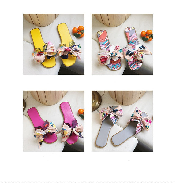 Print Butterfly-knot Square Toe Fashion Beach Flat Slides CODE: KAR258