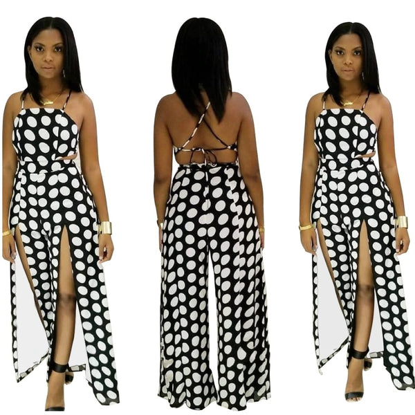 Printed Hanging Neck Backless Split Wide Leg Jumpsuit CODE: KAR262