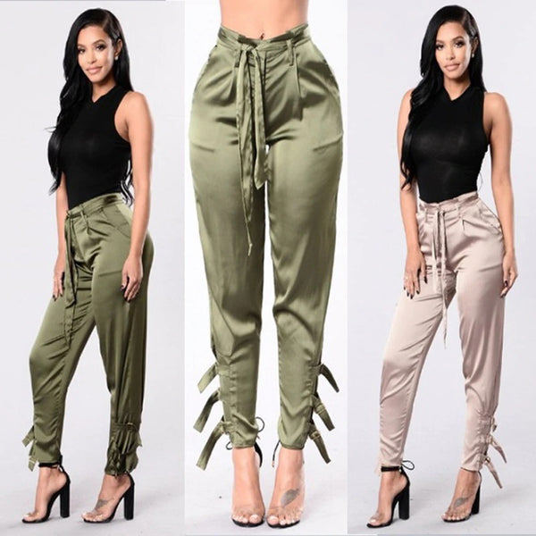 New Solid Green Pants High Waist Trousers Women Elegant Satin Pants CODE: KAR263