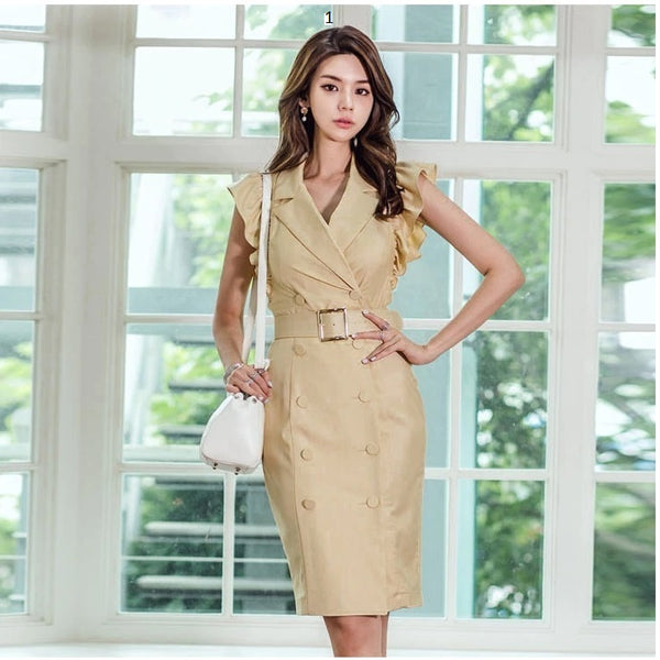 Office Lady Stylish Midi Dresses Deep V Collar Casual Vestidos CODE:265