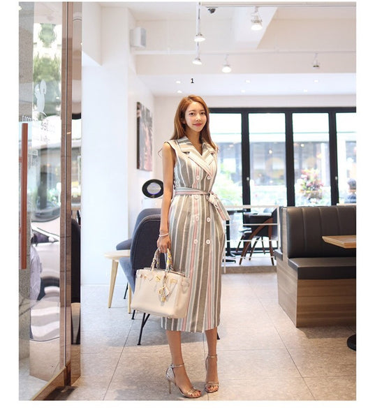 Autumn Notched Patchwork stripe Dress CODE: KAR269