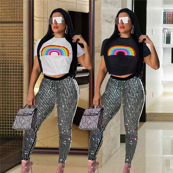 Rainbow short sleeve sequined two-piece trousers two piece set CODE: KAR273