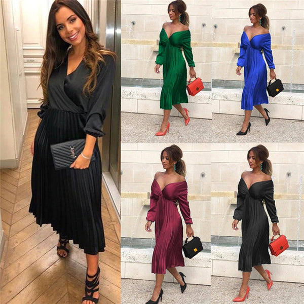 Long Sleeve Pleated Dress Solid V-Neck Long PartyDresses CODE: KAR301