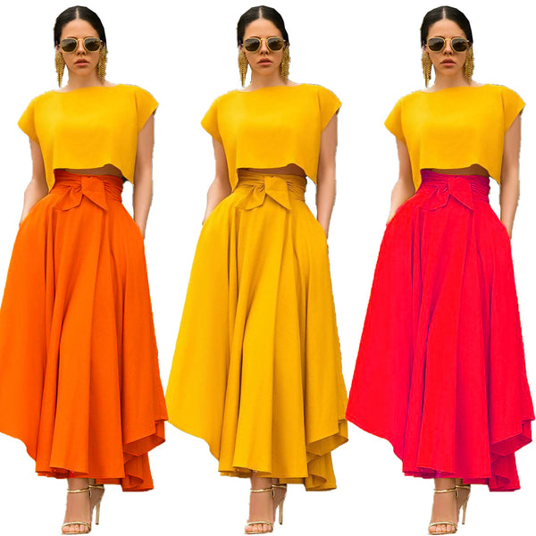 Vintage high waist with sashes big swing maxi skirt CODE: KAR305