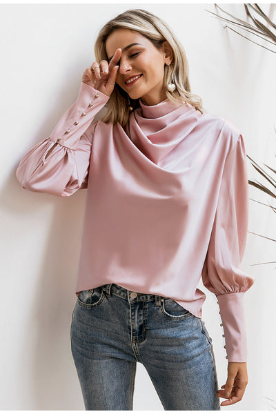 Vintage pink satin women blouse Turtle neck pleated luxury blouse shirt DODE: KAR30