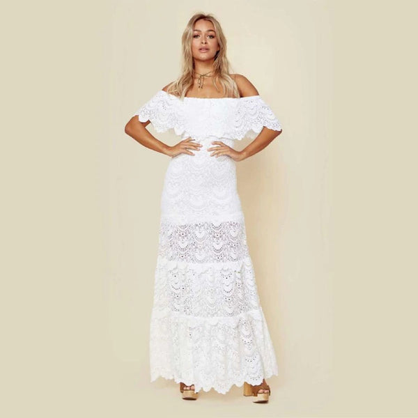Sexy Lace Off Shoulder Slash Neck White Dress Party Night Beach  CODE: KAR310