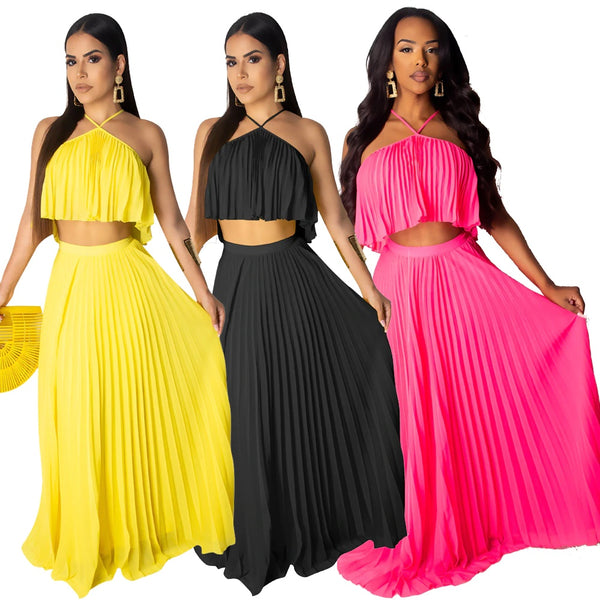 Casual Halter Crop Top and Pleated Long Skirt Suit Two Piece CODE: KAR324