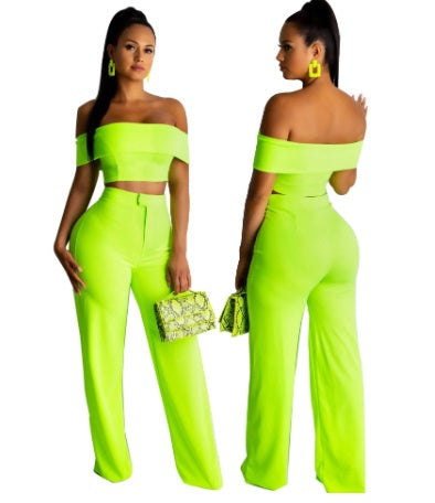 Two Piece Set Neon Crop Top and Pants Women CODE: KAR325
