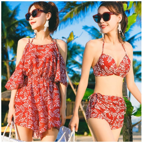 Women Three Pieces Bikinis Sets Swimwear with Cover Up Retro Floral CODE: KAR335