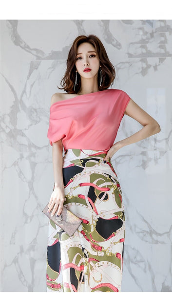 Shoulder Satin Pullover Top+Vintage Print Long Skirt Set Bodycon 2PCS CODE: KAR338