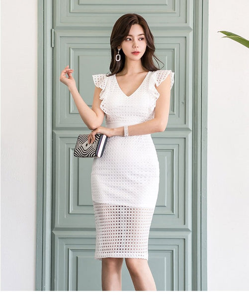Small Sexy V-Neck Sleeveless Ruffles White Lace Dress CODE: KAR339