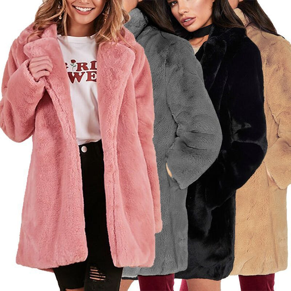 Jacket Bomber Turn Down Collar Flocking Cardigan Rabbit Fur Loose Outwear CODE: KAR358